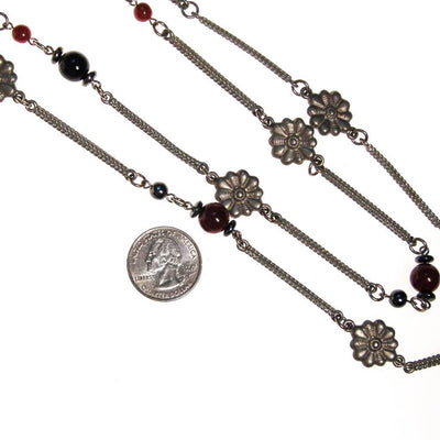 Ben Amun Silver and Burgundy Bead Necklace, Necklace - Vintage Meet Modern