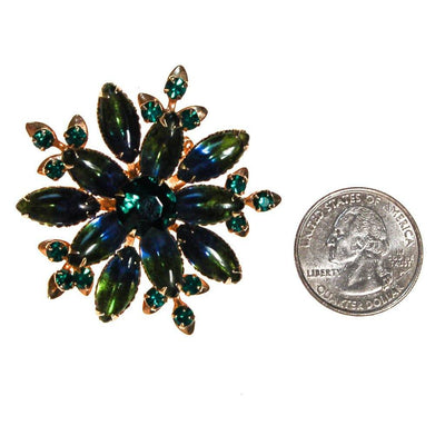 Green Blue Bi Color Rhinestone Round Rhinestone Floral Brooch, Peacock Colors by Unsigned Beauty - Vintage Meet Modern Vintage Jewelry - Chicago, Illinois - #oldhollywoodglamour #vintagemeetmodern #designervintage #jewelrybox #antiquejewelry #vintagejewelry