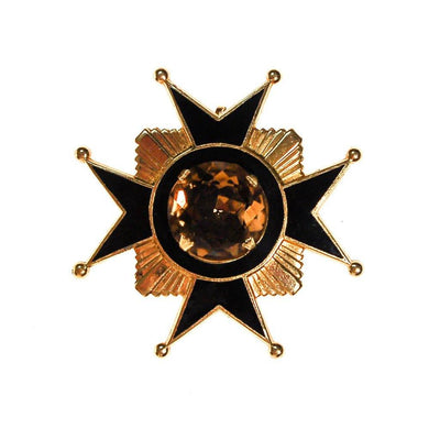 Accessocraft NYC Black, Gold, Citrine Rhinestone Maltese Cross Brooch, Pendant by Accessocraft NYC - Vintage Meet Modern - Chicago, Illinois