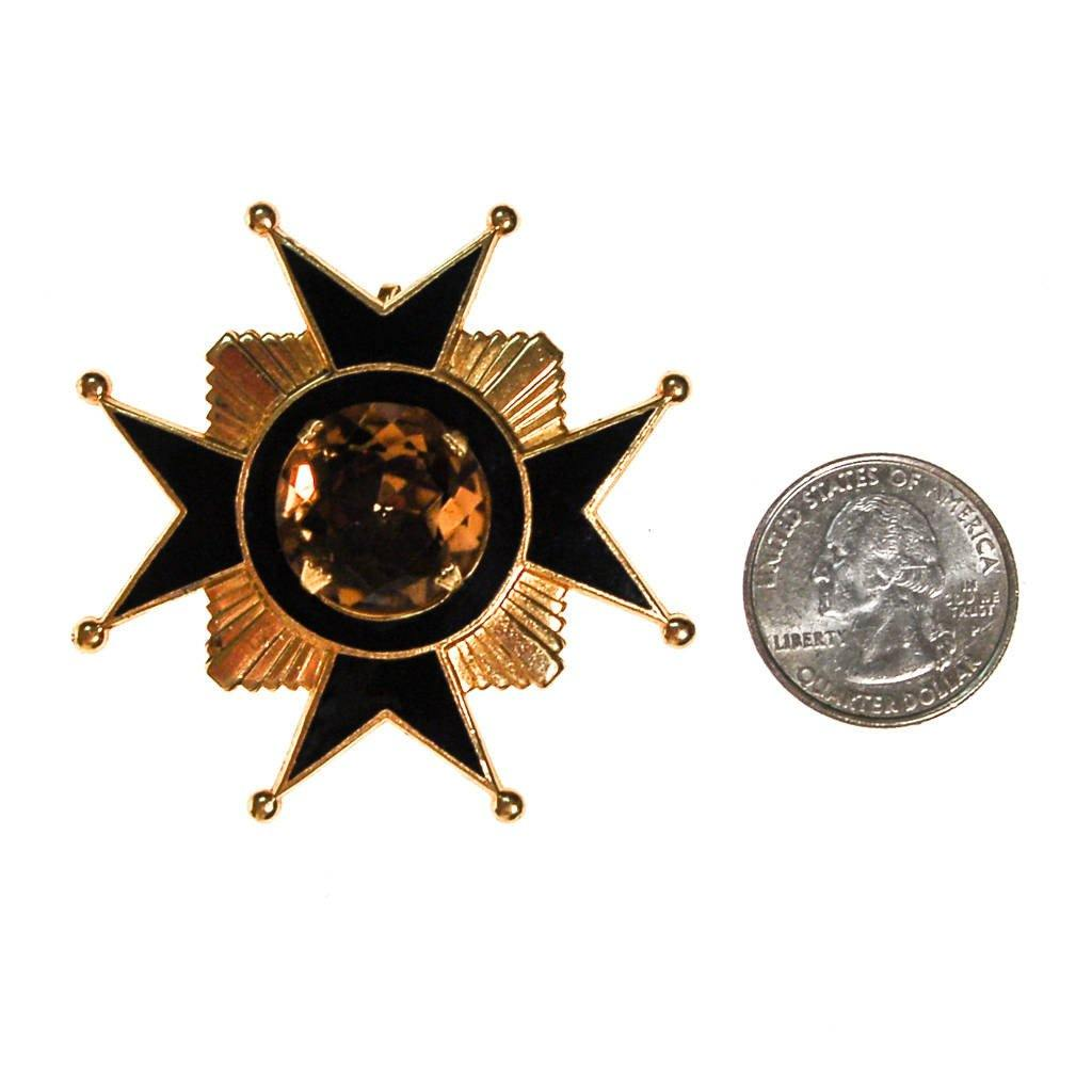 Accessocraft NYC Black, Gold, Citrine Rhinestone Maltese Cross Brooch, Pendant, Brooch - Vintage Meet Modern