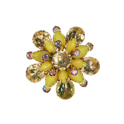 Yellow Rhinestone Brooch, Pin, Round Shape by Unsigned Beauty - Vintage Meet Modern Vintage Jewelry - Chicago, Illinois - #oldhollywoodglamour #vintagemeetmodern #designervintage #jewelrybox #antiquejewelry #vintagejewelry