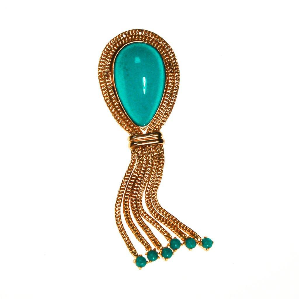 Made in Germany Turquoise Cabochon Brooch with Tassels
