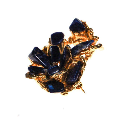 Brutalist Lapis Pendant, brooch, Gold Tone Setting by Brutalist Modern - Vintage Meet Modern Vintage Jewelry - Chicago, Illinois - #oldhollywoodglamour #vintagemeetmodern #designervintage #jewelrybox #antiquejewelry #vintagejewelry