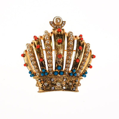 Joan Rivers Royal Crown Brooch, Gold Tone, Coral, Turquoise, and Faux Seed Pearl Accents by Joan Rivers - Vintage Meet Modern Vintage Jewelry - Chicago, Illinois - #oldhollywoodglamour #vintagemeetmodern #designervintage #jewelrybox #antiquejewelry #vintagejewelry