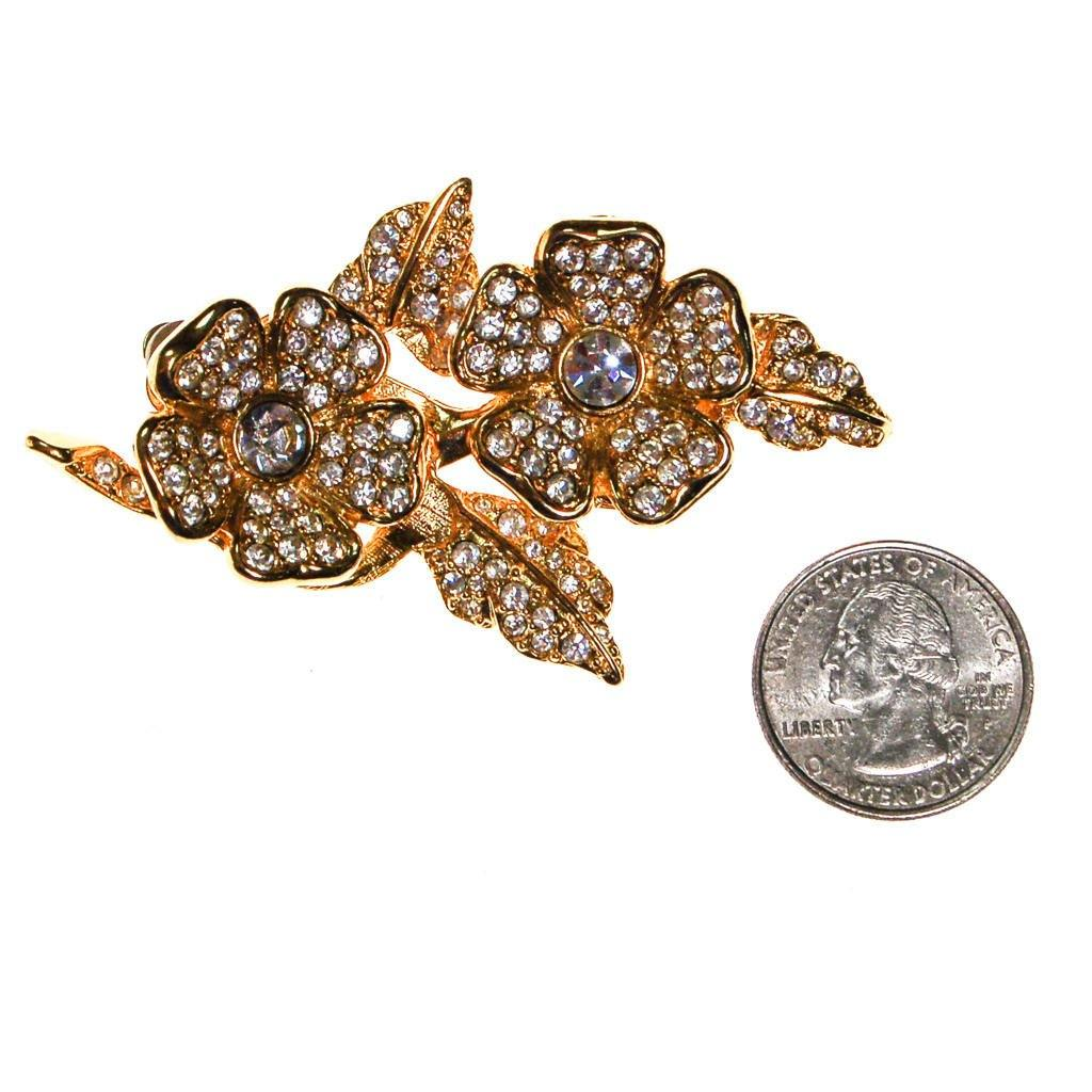 Joan Rivers Gold Flower Brooch with Rhinestones and Clip Earrings