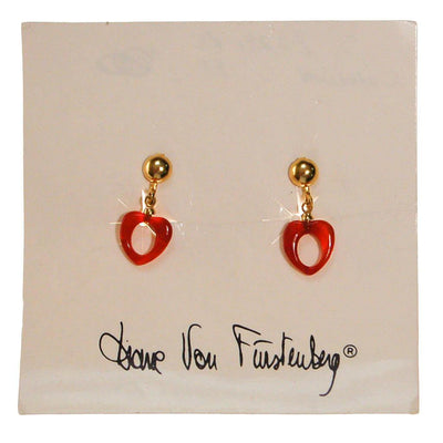 Diane von Furstenberg Carnelian Heart Earrings by Diane von Furstenberg - Vintage Meet Modern - Chicago, Illinois