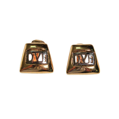 DVF Logo Earrings, Silver and Gold by Diane von Furstenberg - Vintage Meet Modern Vintage Jewelry - Chicago, Illinois - #oldhollywoodglamour #vintagemeetmodern #designervintage #jewelrybox #antiquejewelry #vintagejewelry