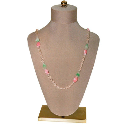 Diane von Furstenberg Pink Crystal, Pink Tulip, Green Leave Beaded Necklace, DVF, Designer Vintage Jewelry, 1970s by Diane von Furstenberg - Vintage Meet Modern Vintage Jewelry - Chicago, Illinois - #oldhollywoodglamour #vintagemeetmodern #designervintage #jewelrybox #antiquejewelry #vintagejewelry