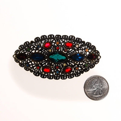 Vintage Jewel Tone Rhinestone Brooch by Victorian Gothic - Vintage Meet Modern Vintage Jewelry - Chicago, Illinois - #oldhollywoodglamour #vintagemeetmodern #designervintage #jewelrybox #antiquejewelry #vintagejewelry