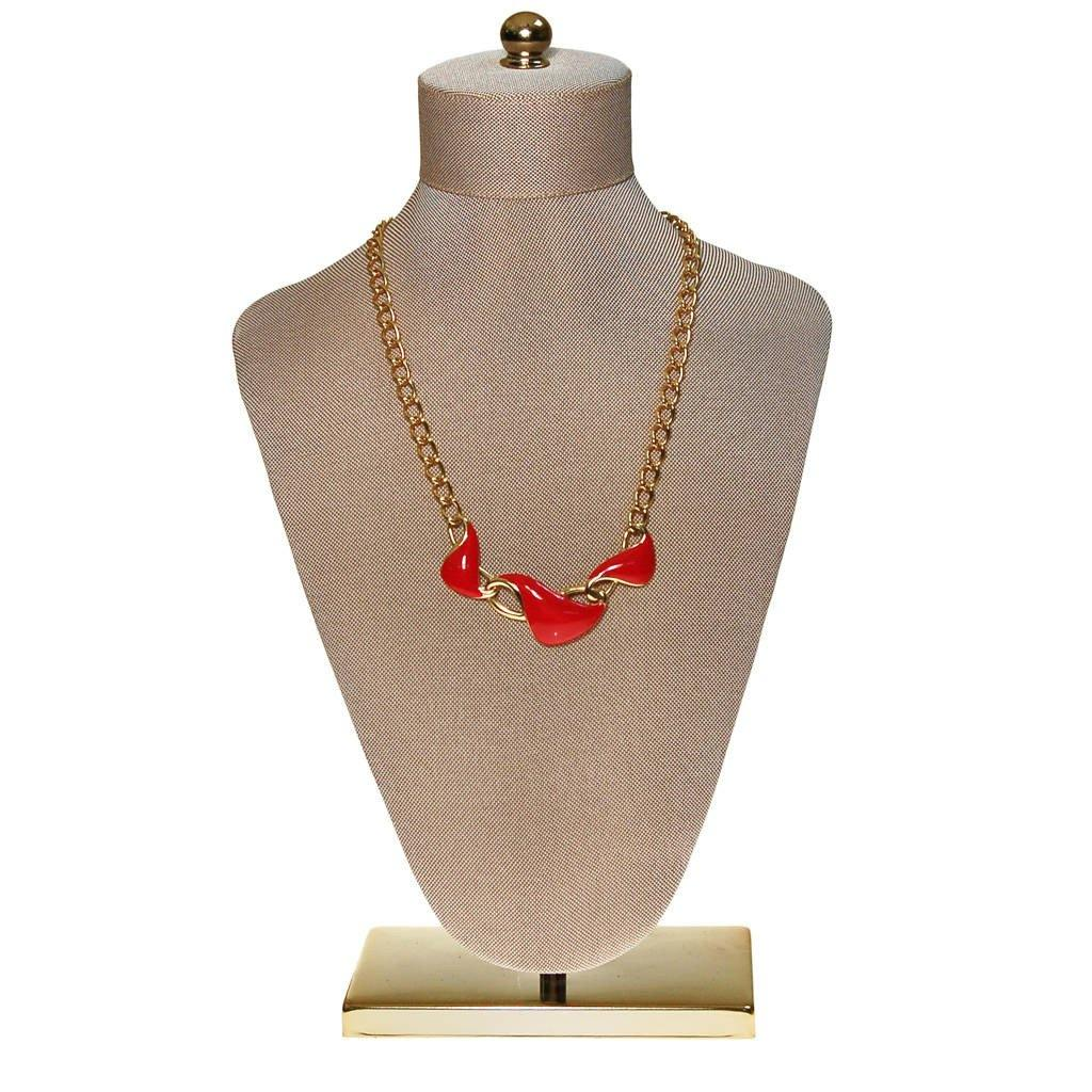 Monet Red Enamel and Gold Chain Link Necklace
