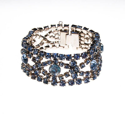 Art Deco Light Blue Rhinestone Bracelet, Silver Tone Setting by Art Deco - Vintage Meet Modern Vintage Jewelry - Chicago, Illinois - #oldhollywoodglamour #vintagemeetmodern #designervintage #jewelrybox #antiquejewelry #vintagejewelry