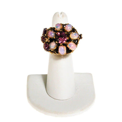 Opal Glass and Amethyst Rhinestone Statement Ring by 1960s - Vintage Meet Modern - Chicago, Illinois