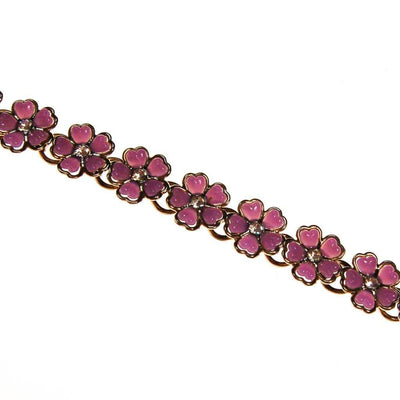 Purple Flowers and Rhinestones Bracelet by 1960s - Vintage Meet Modern Vintage Jewelry - Chicago, Illinois - #oldhollywoodglamour #vintagemeetmodern #designervintage #jewelrybox #antiquejewelry #vintagejewelry