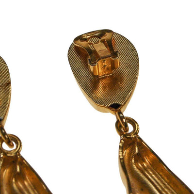 Gold Tone Long Dangling Statement Earrings, 1970s, Clip On by 1970s - Vintage Meet Modern Vintage Jewelry - Chicago, Illinois - #oldhollywoodglamour #vintagemeetmodern #designervintage #jewelrybox #antiquejewelry #vintagejewelry