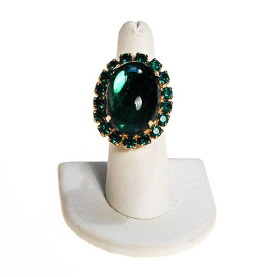 Huge Emerald Green Rhinestone Statement Ring by 1960s - Vintage Meet Modern Vintage Jewelry - Chicago, Illinois - #oldhollywoodglamour #vintagemeetmodern #designervintage #jewelrybox #antiquejewelry #vintagejewelry