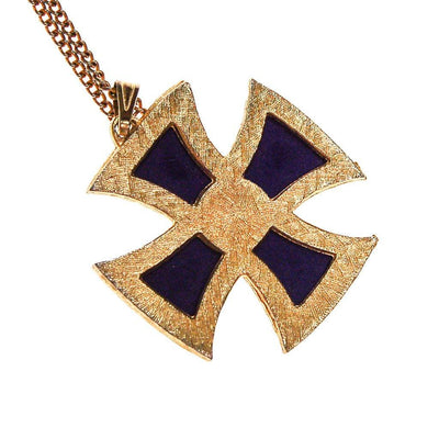 Blue Maltese Cross Pendant Necklace by 1970s - Vintage Meet Modern Vintage Jewelry - Chicago, Illinois - #oldhollywoodglamour #vintagemeetmodern #designervintage #jewelrybox #antiquejewelry #vintagejewelry