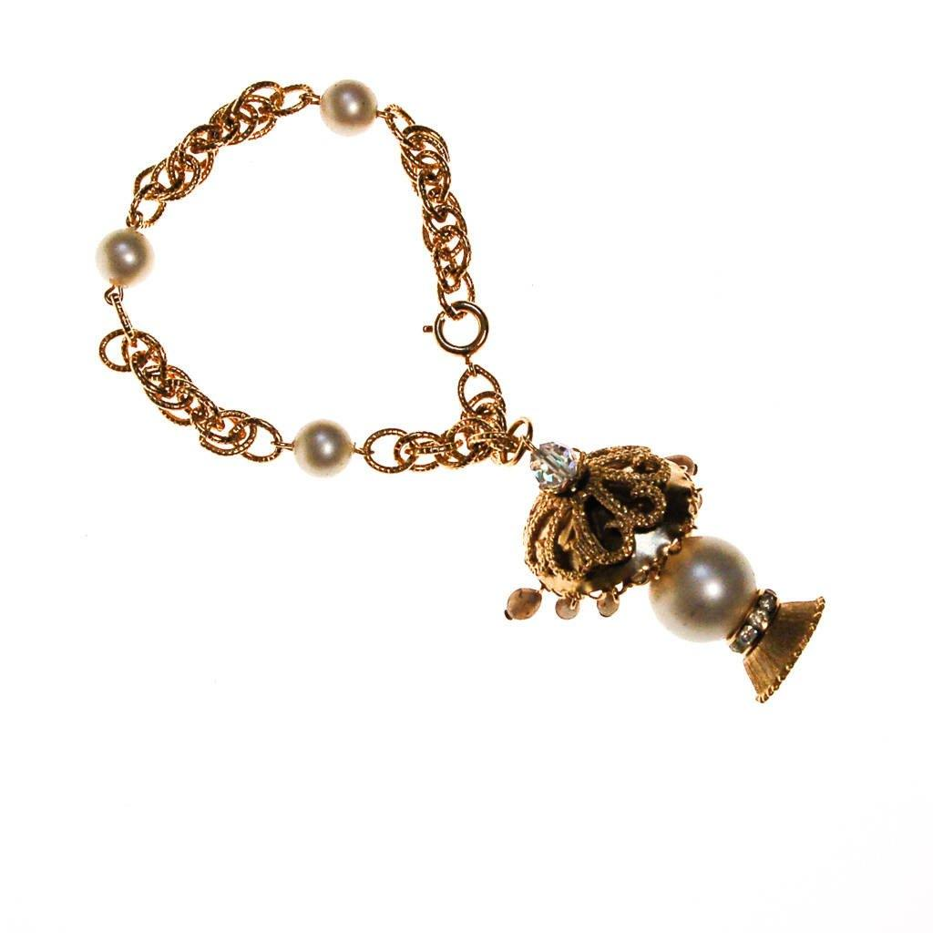 Pearl and Gold Filigree Lantern Charm Bracelet