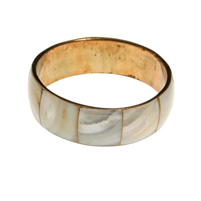 Mother of Pearl Brass Bangle Bracelet by 1970s - Vintage Meet Modern - Chicago, Illinois