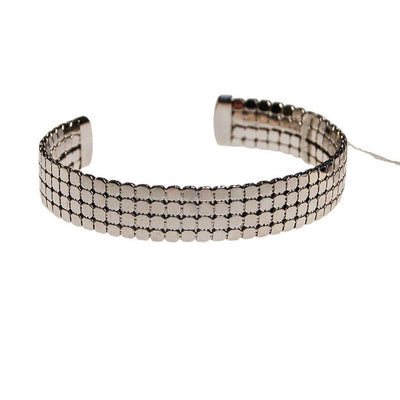 Whiting and Davis Silver Mesh Cuff Bracelet by Whiting and Davis - Vintage Meet Modern - Chicago, Illinois