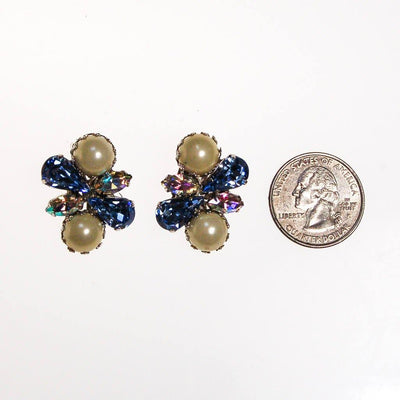 Pearl and Blue Rhinestone Earrings by 1960s - Vintage Meet Modern - Chicago, Illinois
