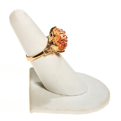Orange Geode Crystal Statement Ring, Gold Tone, Adjustable, Mid Century Modern by 1960s - Vintage Meet Modern - Chicago, Illinois