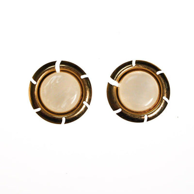 Sarah Coventry Pearl and Gold Disc Earrings by Sarah Coventry - Vintage Meet Modern - Chicago, Illinois