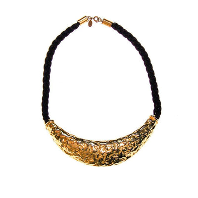 Cadoro Gold and Black Silk Cord Statement Necklace by Cadoro - Vintage Meet Modern Vintage Jewelry - Chicago, Illinois - #oldhollywoodglamour #vintagemeetmodern #designervintage #jewelrybox #antiquejewelry #vintagejewelry