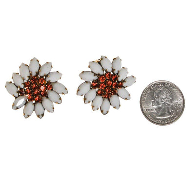 Weiss Rhinestone Daisy Earrings by Weiss - Vintage Meet Modern Vintage Jewelry - Chicago, Illinois - #oldhollywoodglamour #vintagemeetmodern #designervintage #jewelrybox #antiquejewelry #vintagejewelry