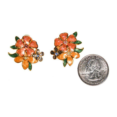Joan Rivers Pink, Peach, Yellow Flower with Rhinestones Earrings by Joan Rivers - Vintage Meet Modern - Chicago, Illinois