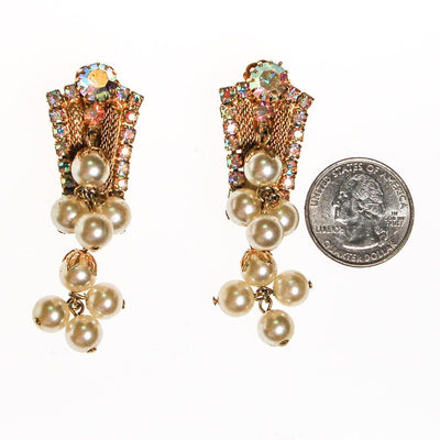 Dangling Pearl and Aurora Borealis Rhinestone Earrings by 1960s - Vintage Meet Modern Vintage Jewelry - Chicago, Illinois - #oldhollywoodglamour #vintagemeetmodern #designervintage #jewelrybox #antiquejewelry #vintagejewelry
