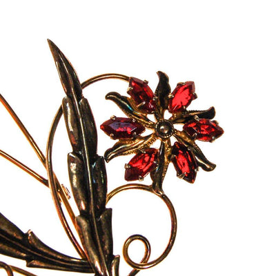 Red Rhinestone Flower Brooch by Gold Filled - Vintage Meet Modern - Chicago, Illinois