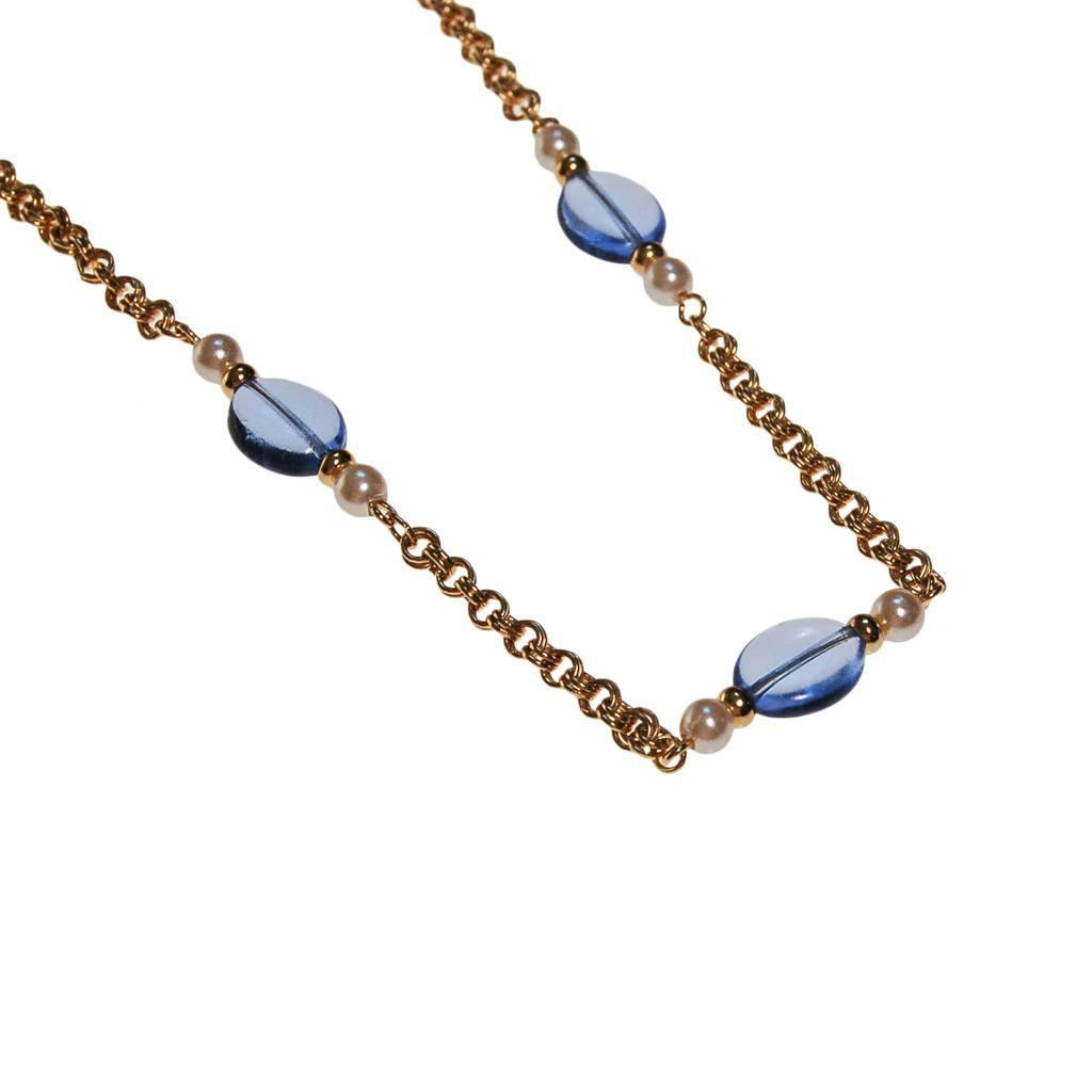 Vintage Avon Gold Chain Necklace with Blue Crystals and Faux Pearls