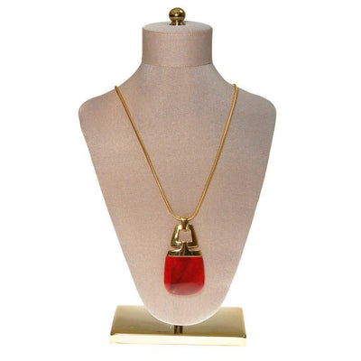 Crown Trifari Modernist Pendant Necklace with Red Lucite by Crown Trifari - Vintage Meet Modern Vintage Jewelry - Chicago, Illinois - #oldhollywoodglamour #vintagemeetmodern #designervintage #jewelrybox #antiquejewelry #vintagejewelry