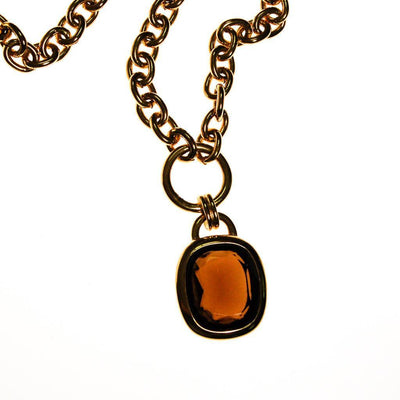 Joan Rivers Gold Chain Necklace with Smokey Topaz Pendant by Joan Rivers - Vintage Meet Modern - Chicago, Illinois