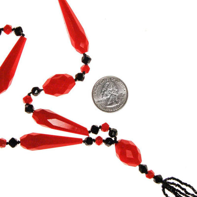 Art Deco Black and Red Beaded Tassel Necklace, Necklace - Vintage Meet Modern
