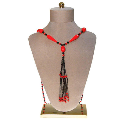 Art Deco Black and Red Beaded Tassel Necklace by Art Deco - Vintage Meet Modern Vintage Jewelry - Chicago, Illinois - #oldhollywoodglamour #vintagemeetmodern #designervintage #jewelrybox #antiquejewelry #vintagejewelry
