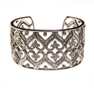 Wide Silver Filigree Cuff with Cubic Zirconias by 1980s - Vintage Meet Modern Vintage Jewelry - Chicago, Illinois - #oldhollywoodglamour #vintagemeetmodern #designervintage #jewelrybox #antiquejewelry #vintagejewelry
