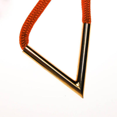 Diane von Furstenberg Orange Silk Cord Gold Triangle Necklace by Diane von Furstenberg - Vintage Meet Modern Vintage Jewelry - Chicago, Illinois - #oldhollywoodglamour #vintagemeetmodern #designervintage #jewelrybox #antiquejewelry #vintagejewelry
