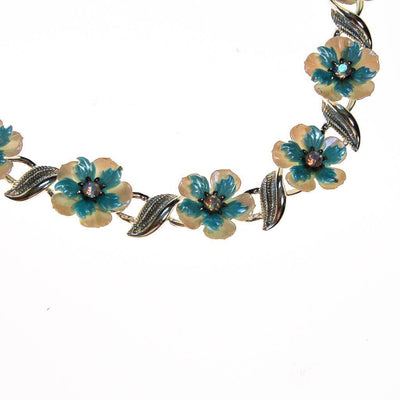 Coro White and Blue Flower with Rhinestones Necklace by Coro - Vintage Meet Modern Vintage Jewelry - Chicago, Illinois - #oldhollywoodglamour #vintagemeetmodern #designervintage #jewelrybox #antiquejewelry #vintagejewelry