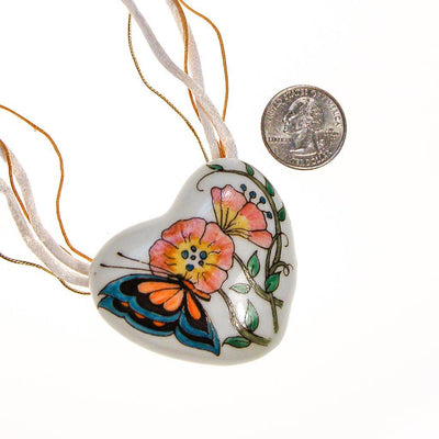 Diane Von Furstenberg Hand Painted Heart Pendant Statement Necklace by Diane von Furstenberg - Vintage Meet Modern - Chicago, Illinois