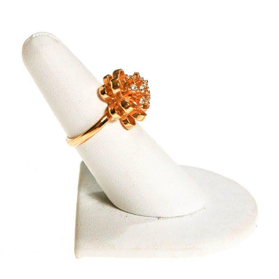 Gold Tone Flower Ring with CZ's by 1960s - Vintage Meet Modern Vintage Jewelry - Chicago, Illinois - #oldhollywoodglamour #vintagemeetmodern #designervintage #jewelrybox #antiquejewelry #vintagejewelry