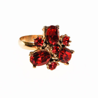 Red Rhinestone Statement Ring, Gold Tone, Adjustable, Ring Size 7 by 1960s - Vintage Meet Modern Vintage Jewelry - Chicago, Illinois - #oldhollywoodglamour #vintagemeetmodern #designervintage #jewelrybox #antiquejewelry #vintagejewelry