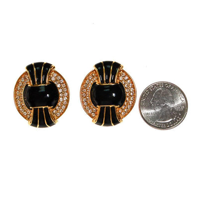 Vintage Kenneth Jay Lane Black, Gold, and Swarovski Rhinestone Statement Earrings by kenneth jay lane - Vintage Meet Modern - Chicago, Illinois