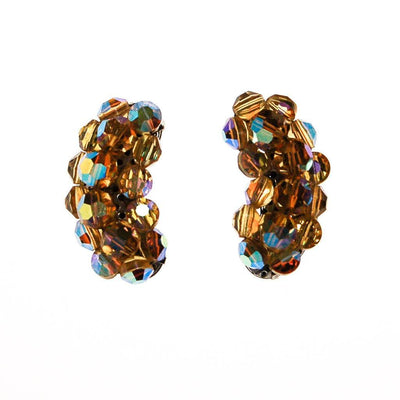 Golden Aurora Borealis Beaded Crystal Ear Crawler Earrings by 1950s - Vintage Meet Modern Vintage Jewelry - Chicago, Illinois - #oldhollywoodglamour #vintagemeetmodern #designervintage #jewelrybox #antiquejewelry #vintagejewelry