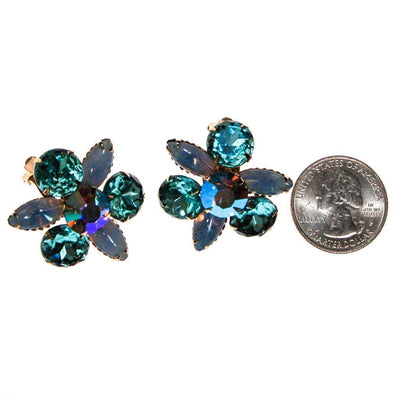 Blue Rhinestone Statement Earrings by 1950s - Vintage Meet Modern - Chicago, Illinois