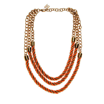 Vintage Gold and Orange Bead Triple Strand Necklace by 1990s - Vintage Meet Modern - Chicago, Illinois