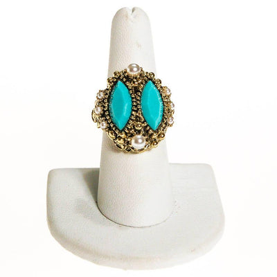 Turquoise Rhinestone and Faux Pearl Statement Ring by 1960s - Vintage Meet Modern - Chicago, Illinois