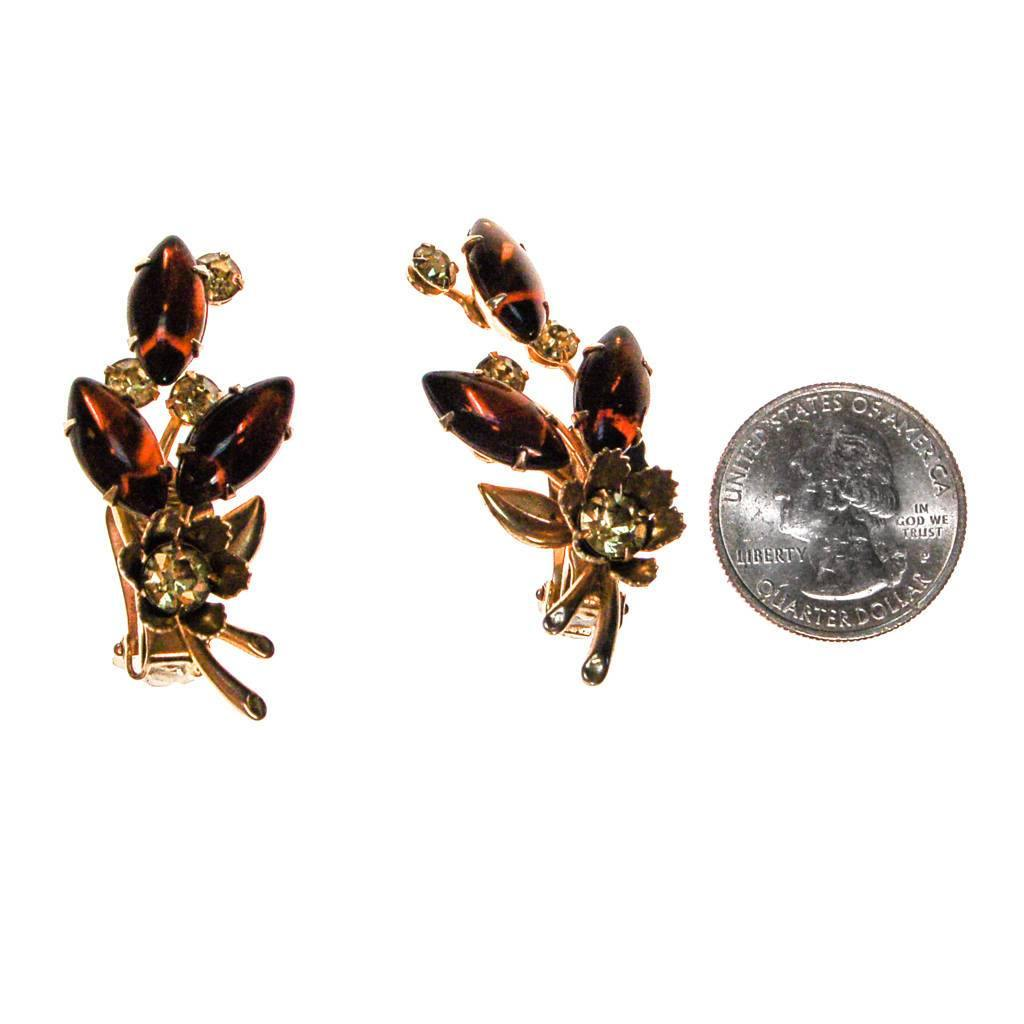 Vintage Amber and Yellow Rhinestone Flower Statement Earrings, Ear Crawler, Clip On