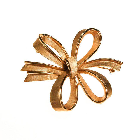 Vintage Gold Tone Swirl Design Brooch with Rhinestones