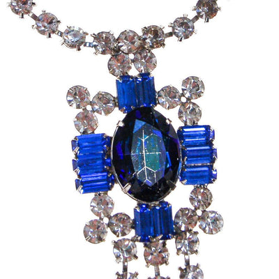Vintage Sapphire Blue and Diamante Rhinestone Statement Necklace by 1950s - Vintage Meet Modern - Chicago, Illinois